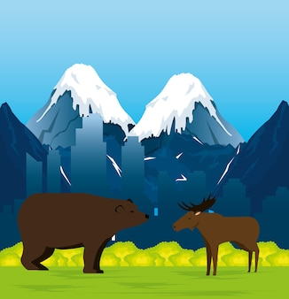 Canadian landscape with moose and grizzly bear