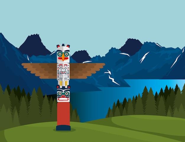 トーテムシーンのアイコン付きカナダの風景