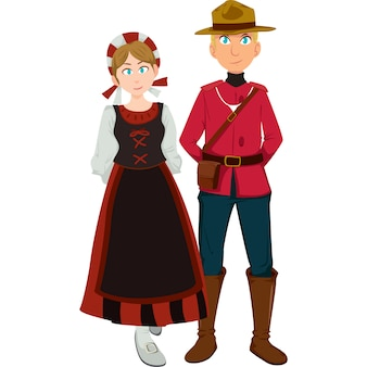 Canadian man and woman in the traditional clothing isolated on white background.