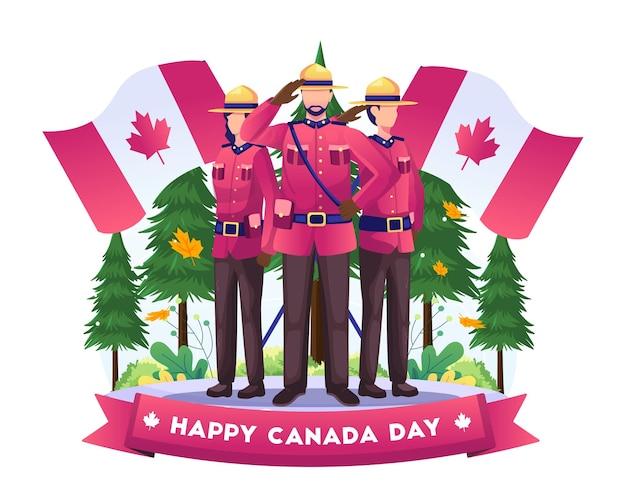 カナダの兵士が国旗のイラストで7月1日のカナダ独立記念日を祝う