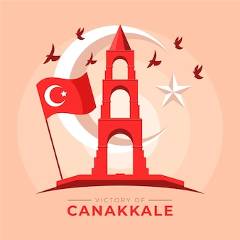 Canakkale illustration with monument and flag