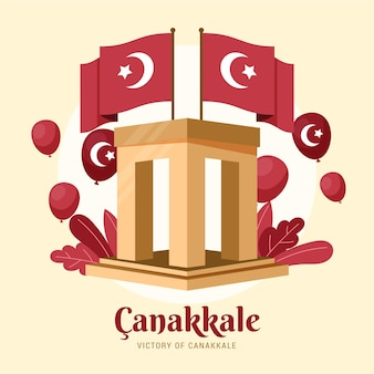 Canakkale illustration with monument and flags