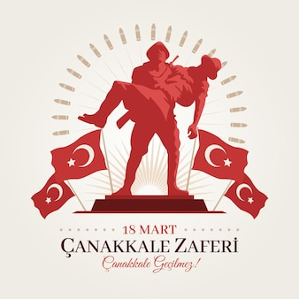 Canakkale illustration with soldiers and flags