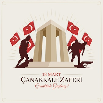 Canakkale illustration with soldiers and monument