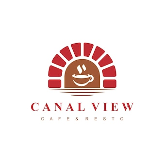 Canal view cafe logo with brick bridge symbol