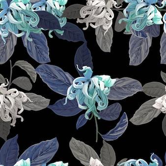 Cananga flower seamless pattern on purple