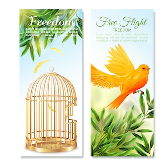Canary in free flight vertical banners