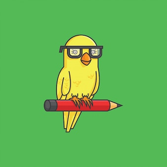 Canary with pencil
