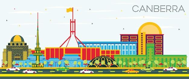 색상 건물과 푸른 하늘이 있는 캔버라 호주 도시 스카이라인. 벡터 일러스트 레이 션. 현대 건축과 비즈니스 여행 및 관광 개념입니다. 랜드마크가 있는 캔버라 도시 풍경.