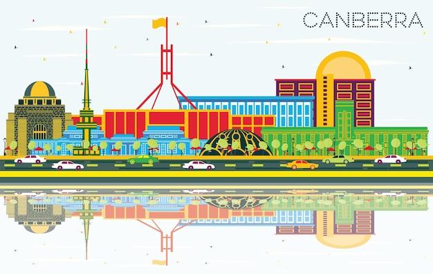 색상 건물, 푸른 하늘 및 반사와 캔버라 호주 도시 스카이 라인. 벡터 일러스트 레이 션. 현대 건축과 비즈니스 여행 및 관광 개념입니다. 랜드마크가 있는 캔버라 도시 풍경.