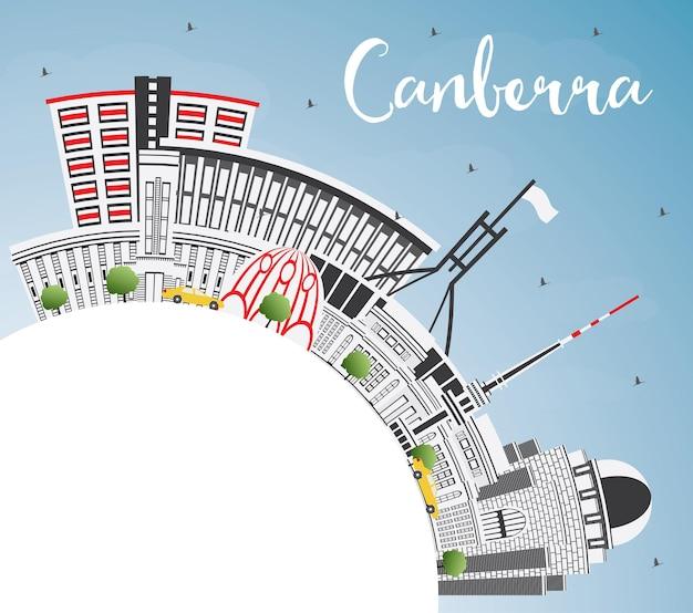 회색 건물, 푸른 하늘 및 복사 공간이 있는 캔버라 호주 도시 스카이라인. 벡터 일러스트 레이 션. 현대 건축과 비즈니스 여행 및 관광 개념입니다. 랜드마크가 있는 캔버라 도시 풍경.