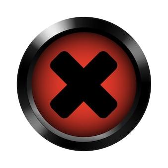 ダークメタリックフレームの赤いテンプレートのキャンセルボタン