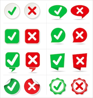 Cancel and check button collection whit different shape