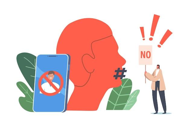 문화 금지 개념을 취소합니다. 거대한 스마트폰과 해시태그가 입을 덮고 있는 인간의 머리에서 정체성 지우기에 반대하는 확성기 폭동이 있는 작은 활동가 캐릭터. 만화 사람들 벡터 일러스트 레이 션