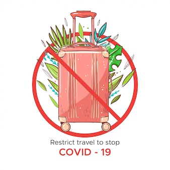 Cancel flights to stop coronavirus. pink travel bag with palms leaves
