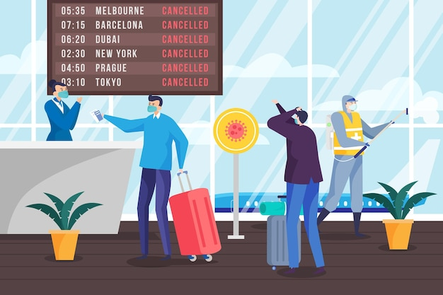 Cancelled flight announcement in airport illustrated