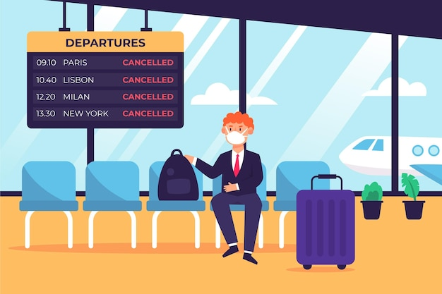 Cancelled flight announcement illustrated