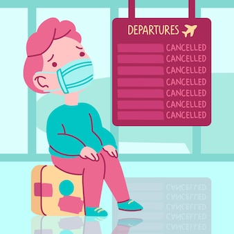 Cancelled flight illustration concept