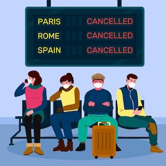 Отменен рейс с людьми в медицинских масках
