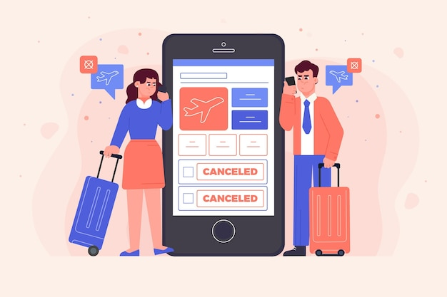 Cancelled flight with smartphone and people