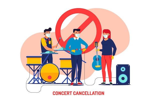 Cancelled musical events illustration with band