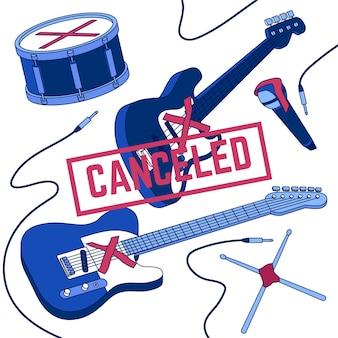 キャンセルされた音楽イベントのイラスト