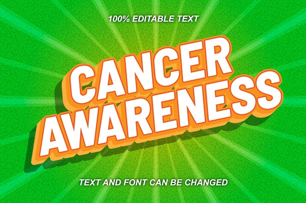 Cancer awareness editable text effect comic style