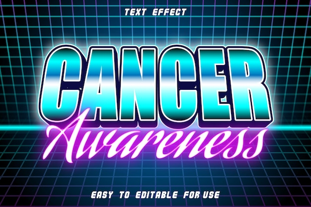 Cancer awareness editable text effect emboss retro style
