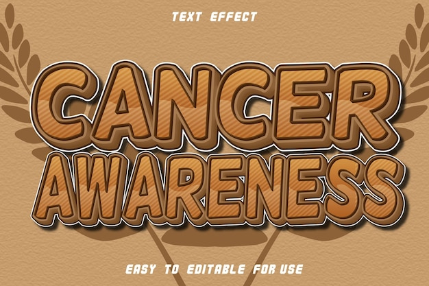 Cancer awareness editable text effect emboss vintage style