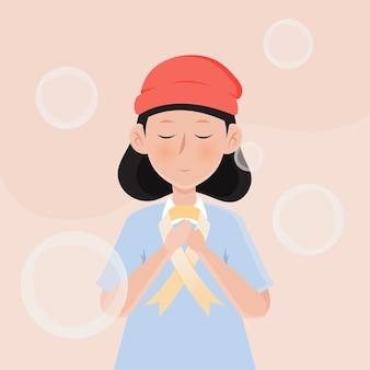 がん啓発月間シンボル。女性とクリーム色のリボンのベクトル図