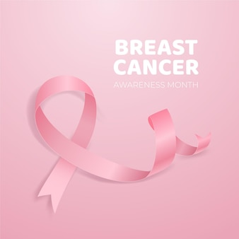 Cancer awareness with realistic pink ribbon