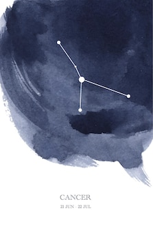 Cancer constellation astrology watercolor illustration. cancer horoscope symbol made of star sparkles and lines.