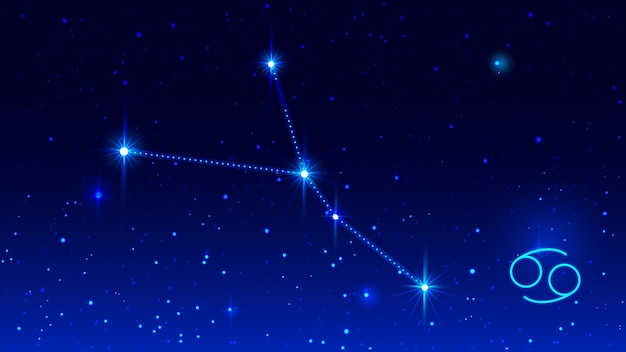 Cancer the crab constellation in night sky zodiac sign.