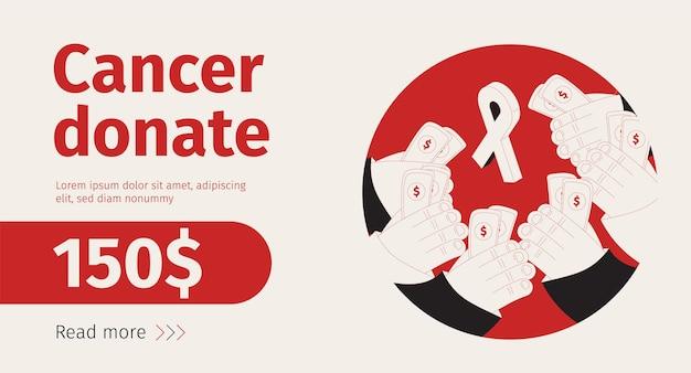 Рак пожертвовать изометрический баннер