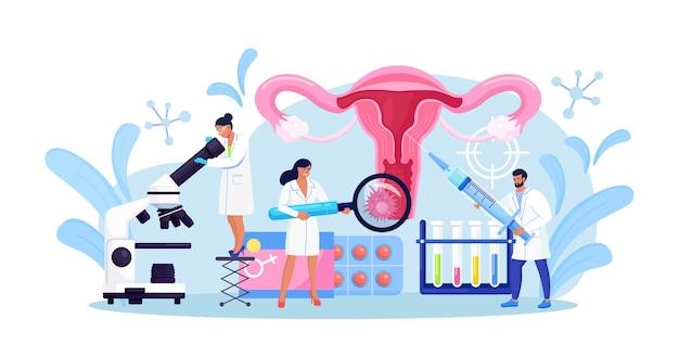 자궁 경부암, 유두종 바이러스. 작은 의사들은 자궁경부암을 치료하고, 침식을 소작하고, 유두종을 진단하기 위해 돋보기로 자궁을 검사합니다. hpv 예방 접종. 부인과, 여성질환