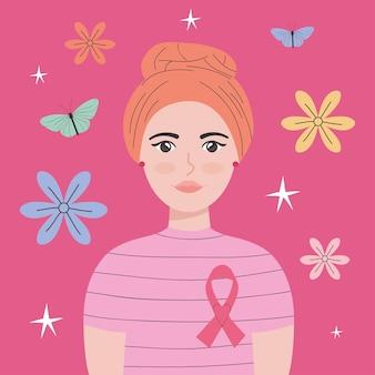 암 생존자 여성 일러스트 디자인