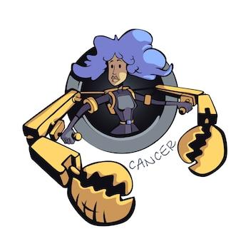 がん星座女性フラット漫画。占星術のシンボルの個性、巨大なカニの爪を持つ少女。商用の印刷デザインに2d文字を使用する準備ができました。分離されたコンセプトアイコン