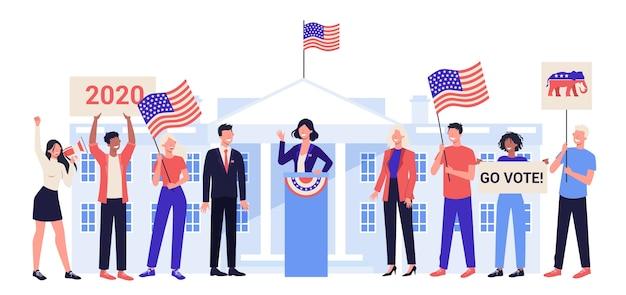 Кандидат в президенты на трибуне. политическая речь. выборы президента. концепция речи выборов. карьера в политике.