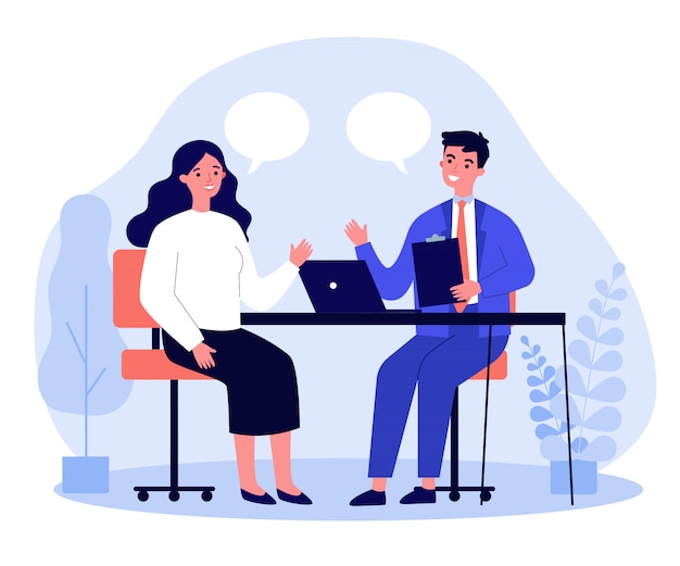 Candidate and hr manager having job interview