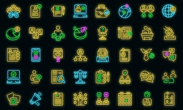 Candidate icons set vector neon