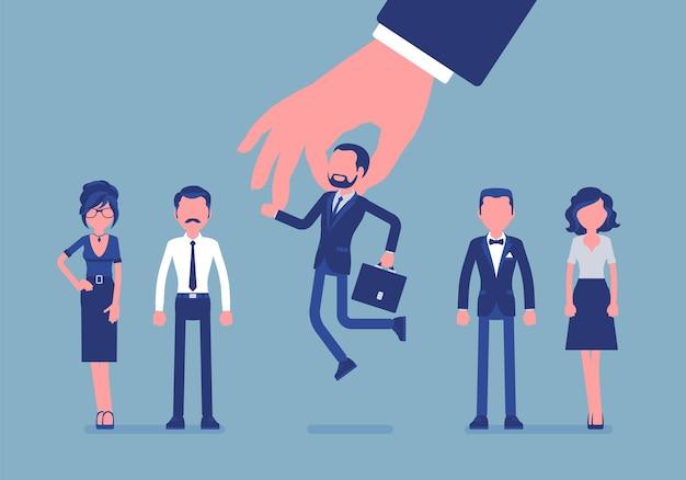 Отбор кандидата из группы сотрудников. гигантская рука берет на себя корпоративные выборы, выбирая маленького человечка, игрушечного человечка, выбранного в команду, выделенного особым умением. векторная иллюстрация, безликие персонажи