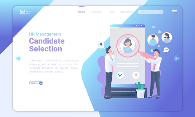 Candidate selection landing page template