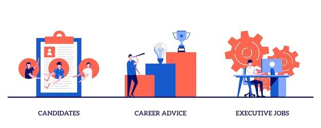 Кандидаты, советы по карьере, концепция руководящих должностей с крошечным персонажем и значками