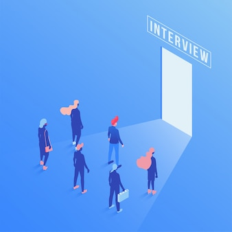 Candidates waiting job interview isometric illustration