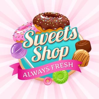 お菓子やお菓子のカラフルな背景。