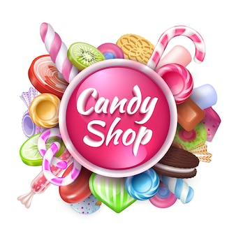 キャンディーの背景。テキスト、カラフルなタフィーロリポップ、キャラメルボンボンの現実的なお菓子とデザートのフレーム