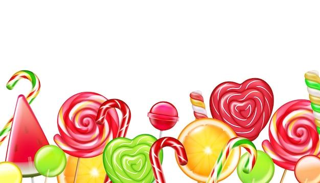 Candies citrus wheels spiral caramel flowers canes lollipops realistic border composition