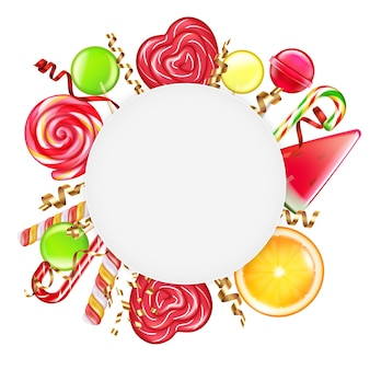 Candies citrus wheels spiral caramel flowers canes lollipops round frame on white
