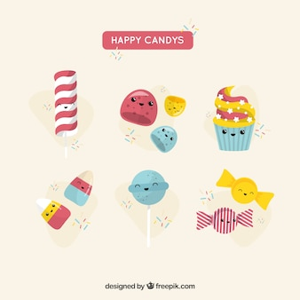 Candies collection with cute faces