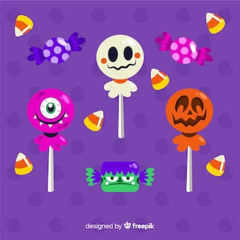 Candies decorated with halloween elements